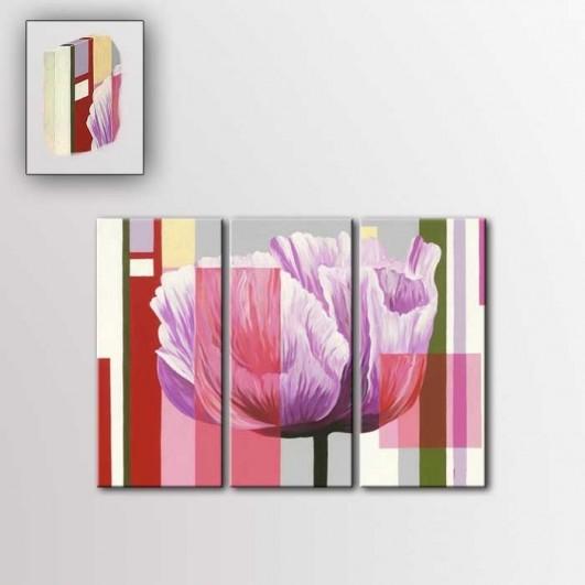 Triplico flores en lienzo (90x70x4cm)