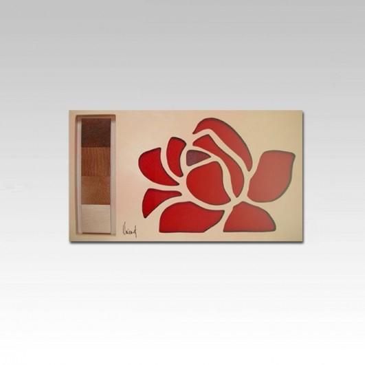Cuadro flor en relieve (90x40cm)
