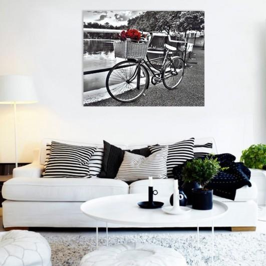 "Cuadro sin marco ""Bicicleta rosas..."