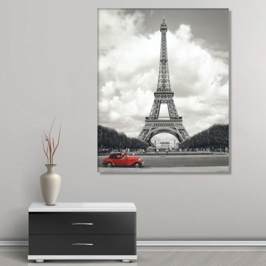 """Cuadro sin marco """"coche rojo en Torre..."""