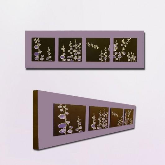cuadro moderno relieve flores wengue con fondo violeta plido x