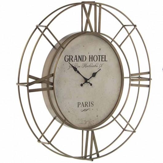 Reloj pared metal dorado (Diámetro 60cm)