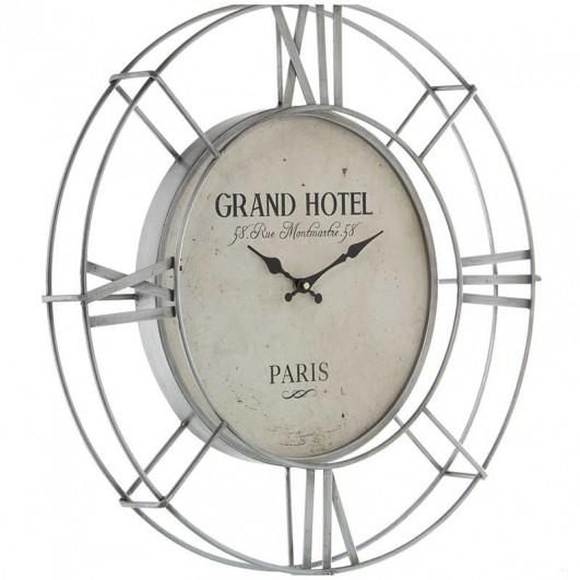 Reloj pared metal plateado calado...