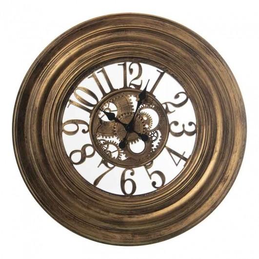 Reloj pared resina dorado con cristal...