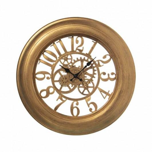 Reloj pared resina dorado con...