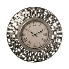 Reloj pared resina plateado...