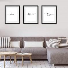 Trio de cuadros con marco y...