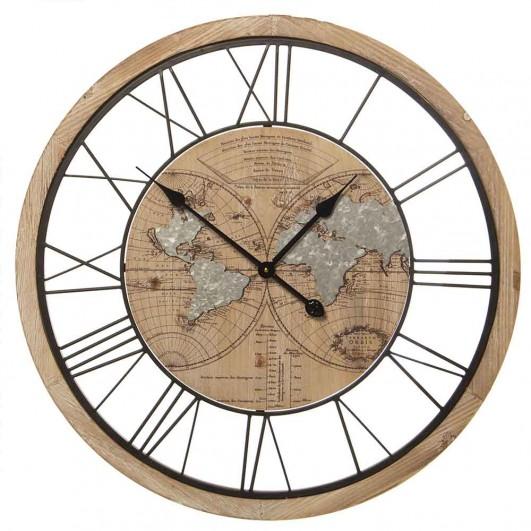 Reloj pared madera Mapamundi...