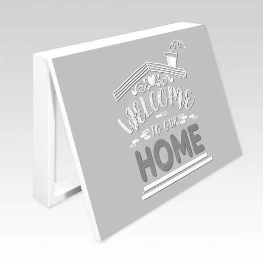 Cubrecontador frase Welcome Home gris...