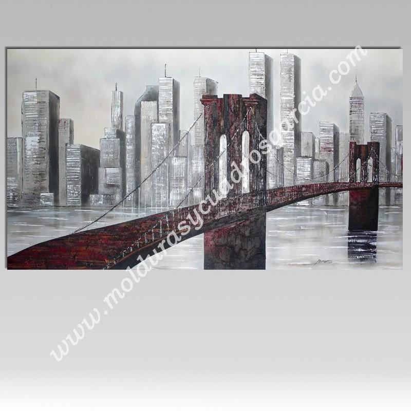 cuadro obra original en relieve combinacin de metales puente de brooklyn