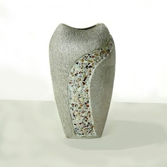 Jarrón ceramica plata (38x18cm)